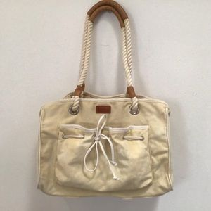 HARRODS CANVAS BAG w ROPE STRAPS